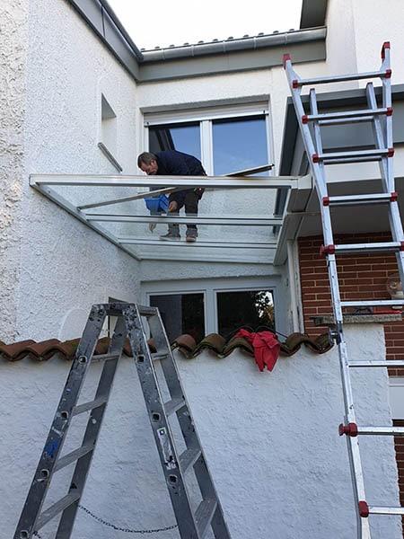Überdachung Aufbau